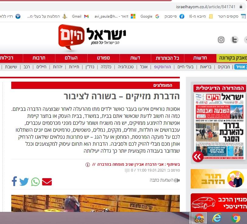 הרחקת יונים מאמר בישראל היום